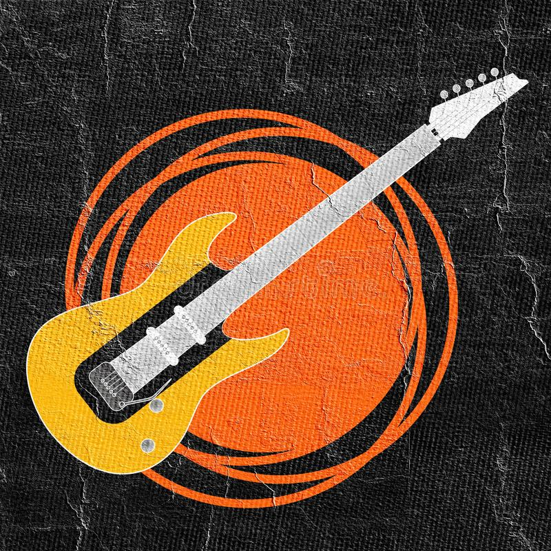 Fantasirikt vagga gitarrillustrationen vektor illustrationer
