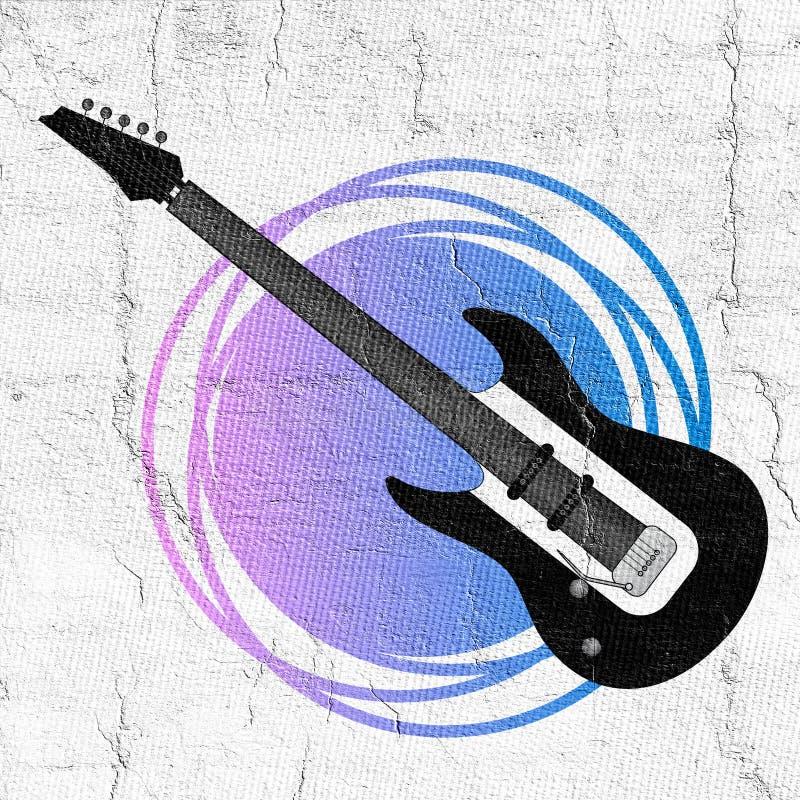 Fantasirikt vagga gitarrillustrationen royaltyfri illustrationer