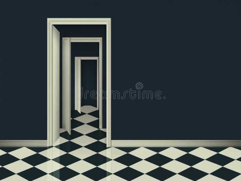 Fantasirum med öppna dörrar för träd stock illustrationer