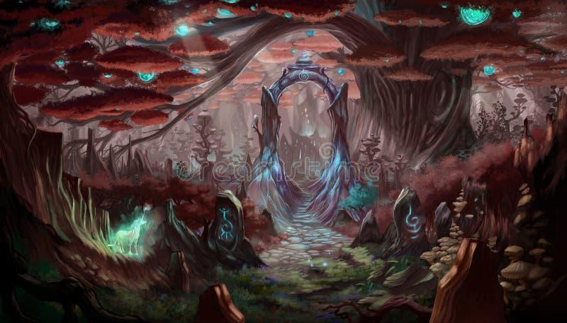 Fantasiskogbakgrund royaltyfri illustrationer