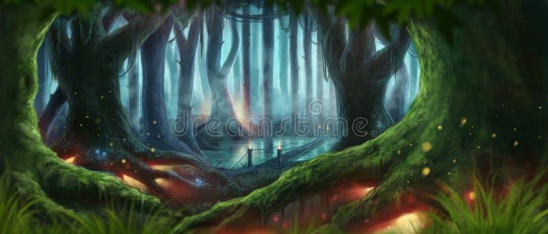 Fantasiskogillustration stock illustrationer