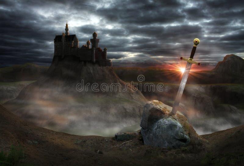 Fantasislott Camelot arkivbild