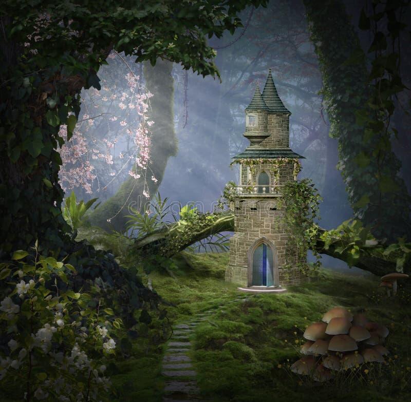 Fantasislott i skogen stock illustrationer