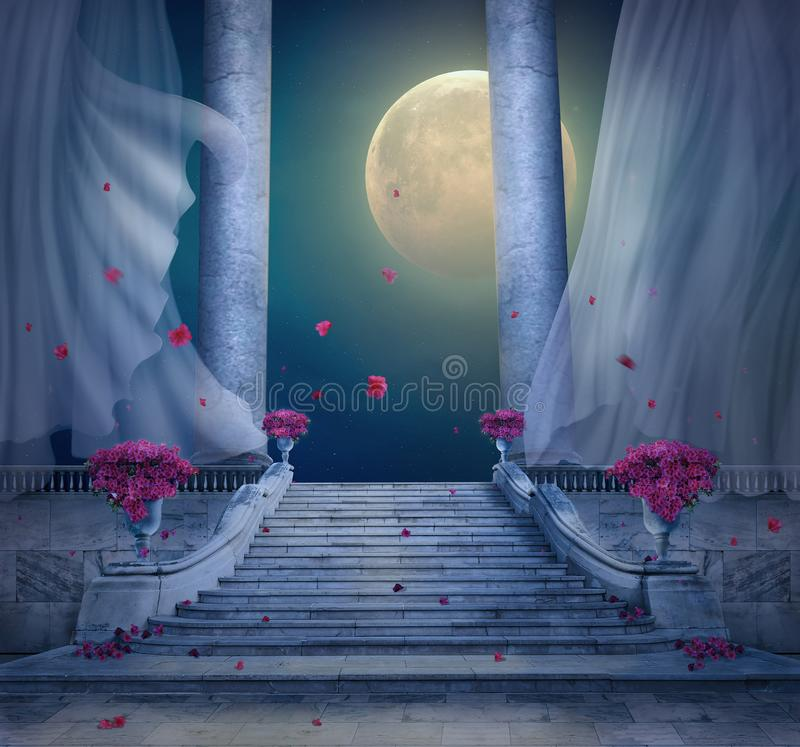 Fantasislotten med marmorerar trappan på natten framf?rande 3d stock illustrationer