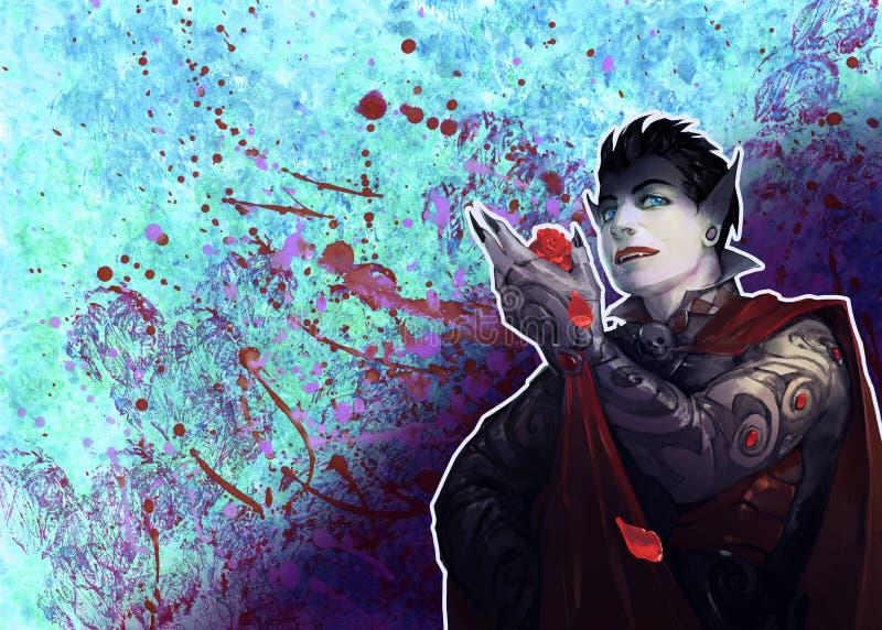 Fantasiståendeillustration av en kuslig och illavarslande vampyrvarelse royaltyfri illustrationer