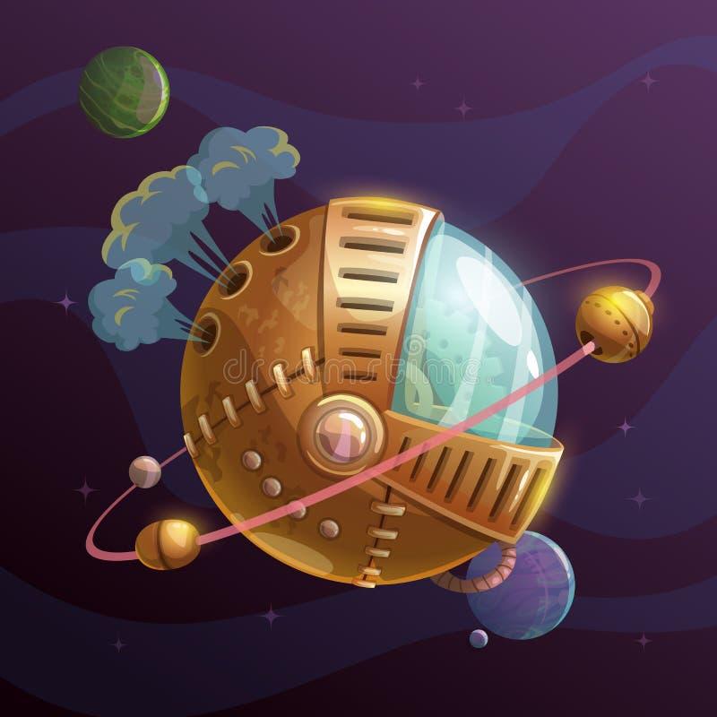 Fantasisteampunkplanet på utrymmebakgrund stock illustrationer