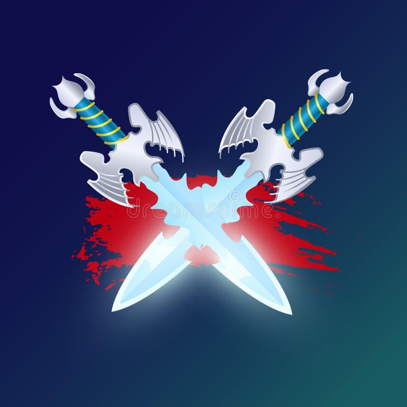 Fantasistridbeståndsdel med korsade svärd vektor illustrationer