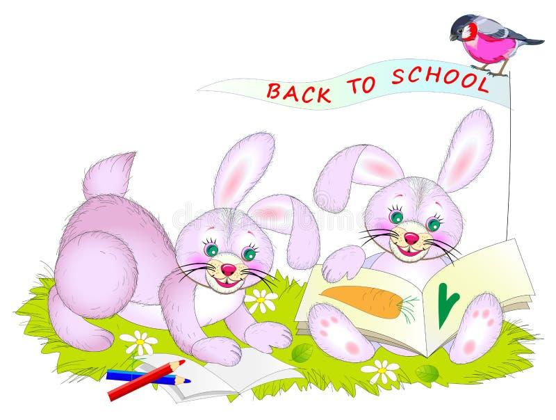 Fantasiteckning för ungar av gulliga små kaniner som lär att räkna och läsa tillbaka skola till stock illustrationer