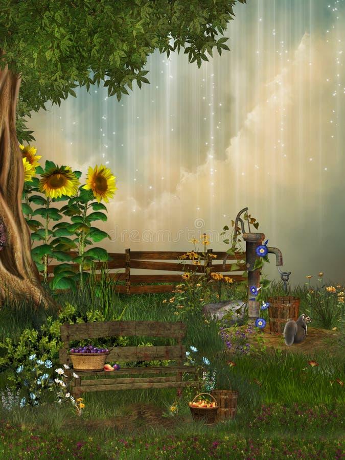 fantasiträdgård stock illustrationer