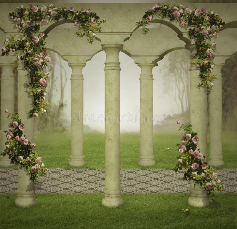 Fantasiträdgård i dimman royaltyfri illustrationer
