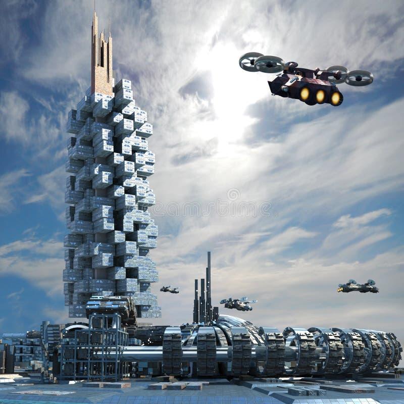 Fantasitransporter och arkitektur stock illustrationer