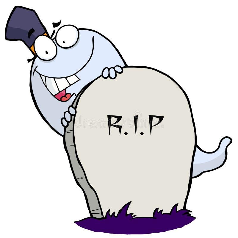 Fantasma bianco di Halloween che osserva intorno ad una pietra tombale illustrazione di stock