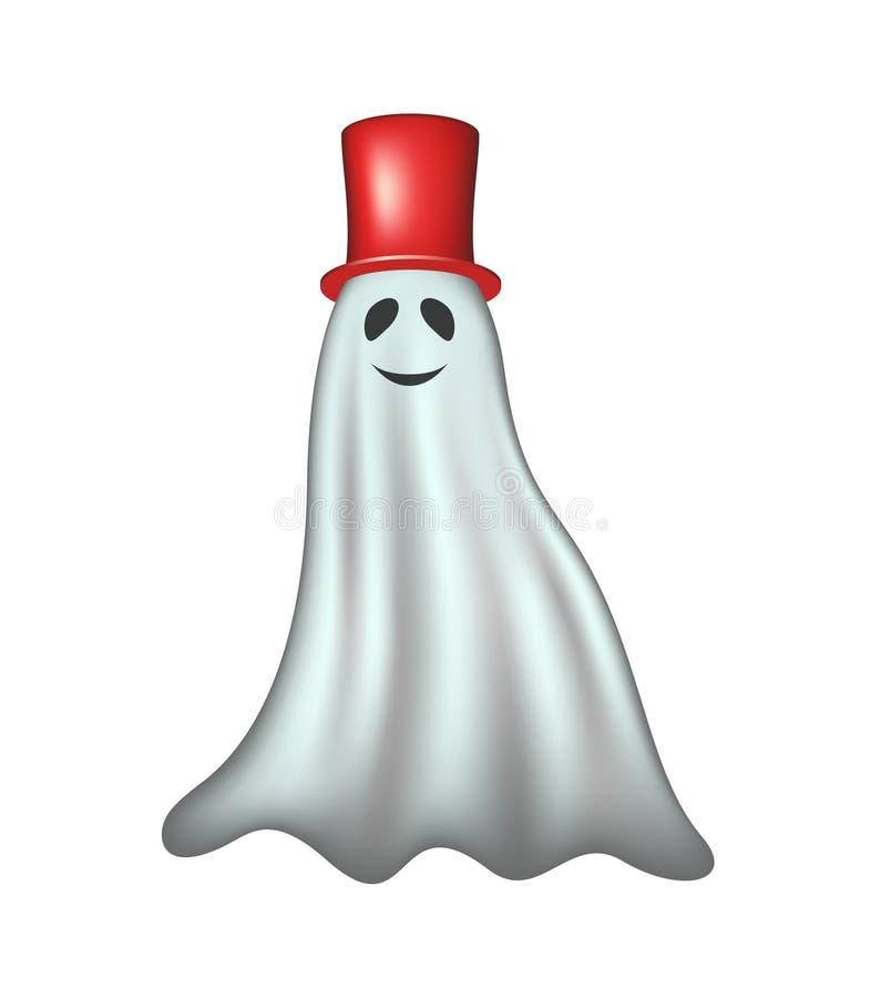 Fantasma com chapéu vermelho ilustração royalty free