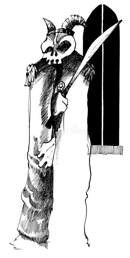 Fantasma com crânio e espada ilustração do vetor