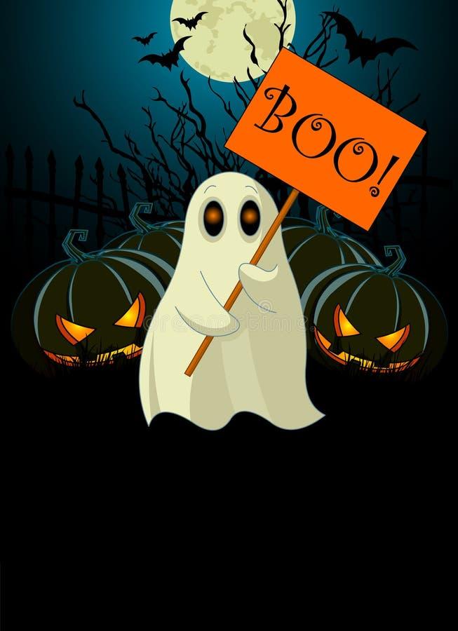 Fantasma com sinal. Convite de Halloween ilustração do vetor