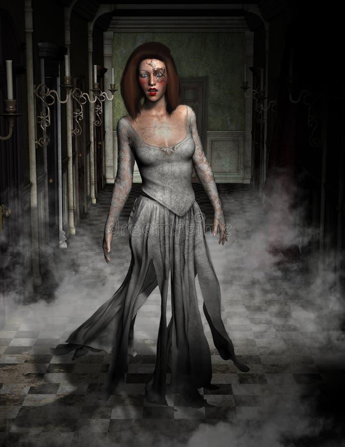 Fantasma de Halloween, ejemplo de la casa encantada stock de ilustración