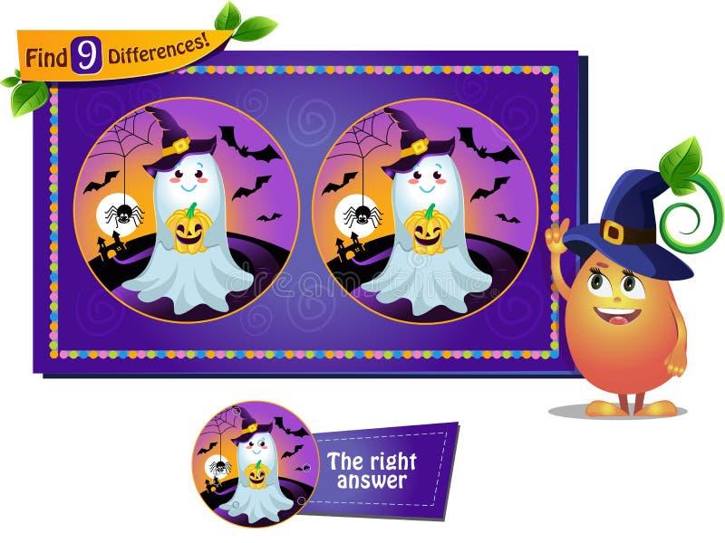 Fantasma de Halloween de las diferencias del hallazgo 9 ilustración del vector