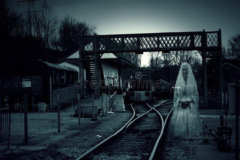Fantasma de la estación de tren imagen de archivo