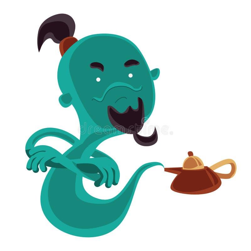 Fantasma del personaje de dibujos animados mágico del ejemplo de la lámpara de aceite ilustración del vector