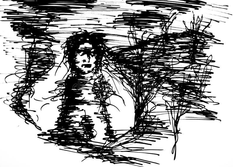 Fantasma di una ragazza illustrazione vettoriale