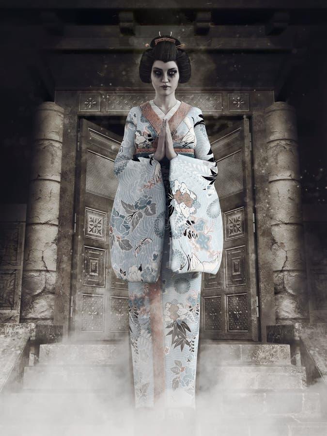 Fantasma di una ragazza di geisha illustrazione di stock