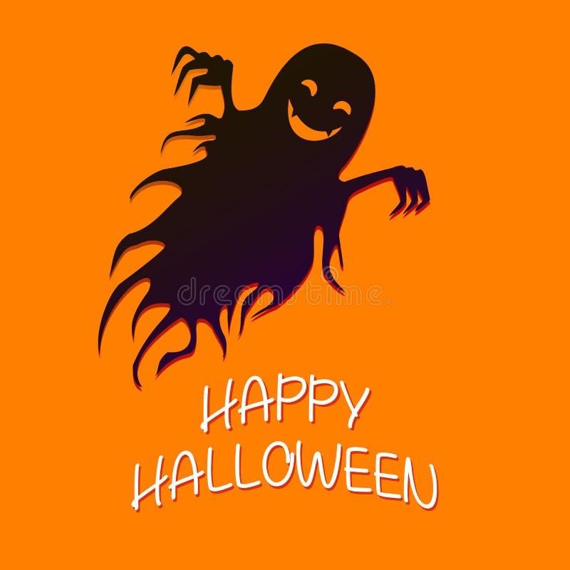 Fantasma divertido que vuela, Halloween loco feliz Illust de la historieta del vector libre illustration