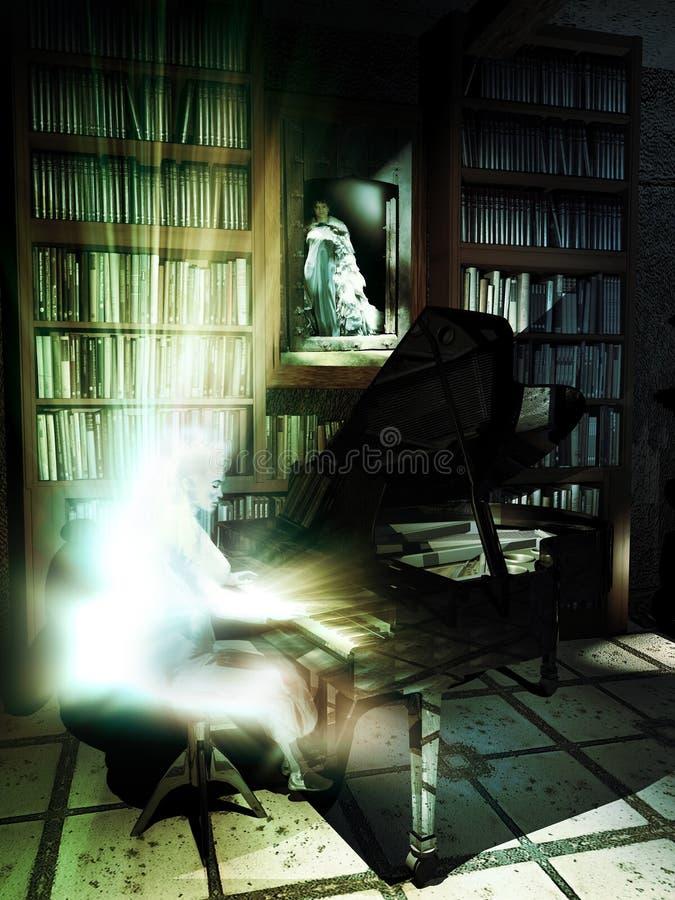 Fantasma en el piano en la biblioteca stock de ilustración