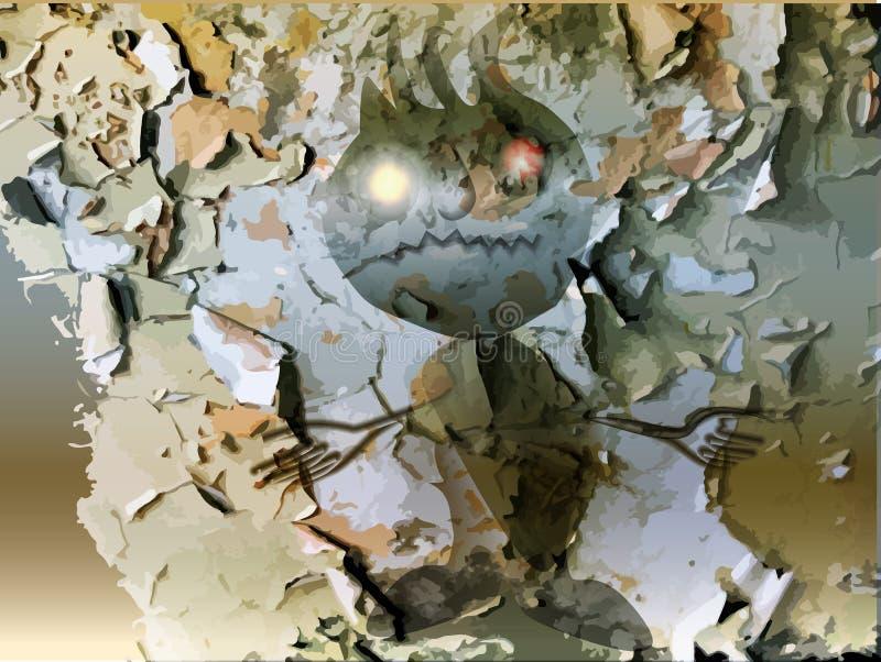 Download Fantasma Fantasmagórico Que Sube De Detrás La Pared Agrietada Ilustración del Vector - Ilustración de grietas, monstruo: 42445882