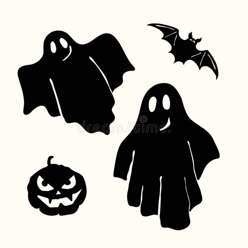 Fantasma, lanterna da abóbora e estêncil pretos do bastão no branco ilustração stock