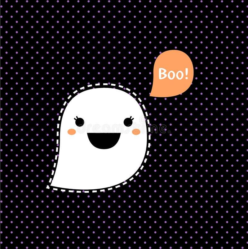 Fantasma lindo de Kawaii Halloween ilustración del vector
