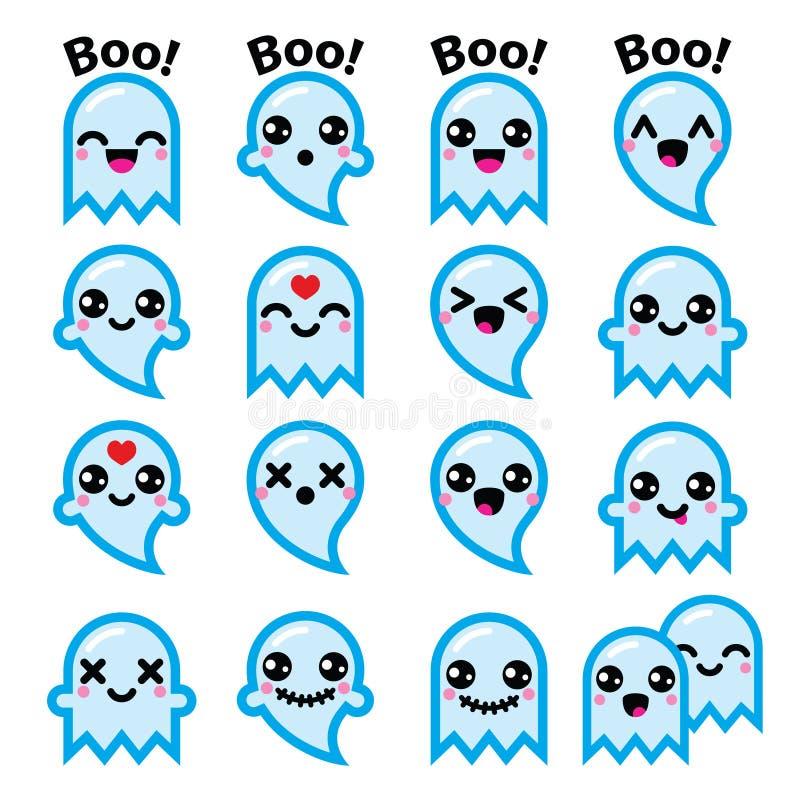 Fantasma lindo de Kawaii para los iconos azules de Halloween fijados ilustración del vector