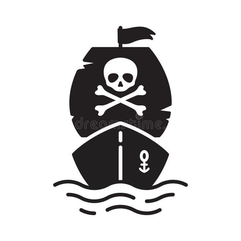Fantasma marittimo nautico di Halloween di simbolo del timone dell'ancora del fumetto dell'yacht della barca a vela di tibie incr illustrazione di stock