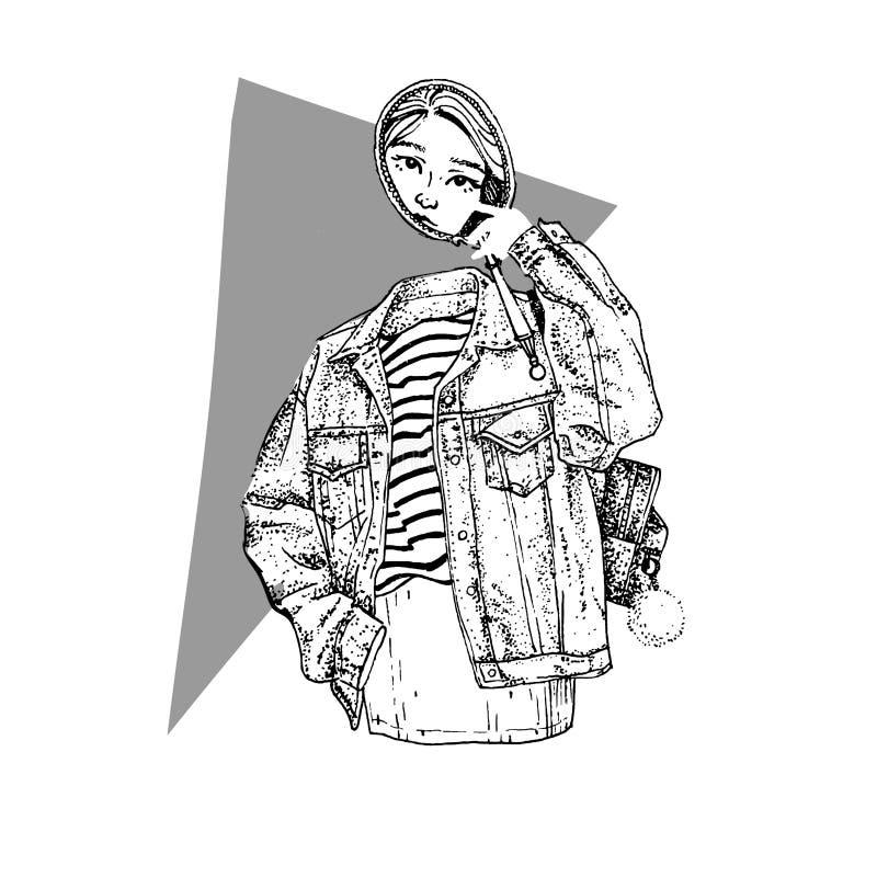 Fantasma misterioso de la muchacha con el espejo en chaqueta de los vaqueros Ejemplo del bosquejo del vector libre illustration