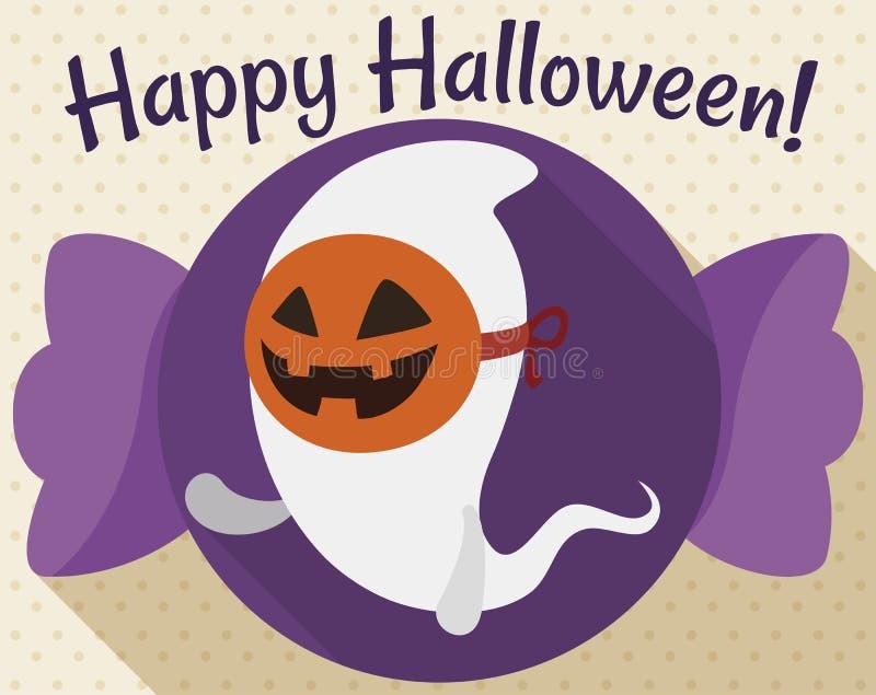 Fantasma que lleva una máscara de la calabaza y que le saluda para Halloween, ejemplo del vector ilustración del vector
