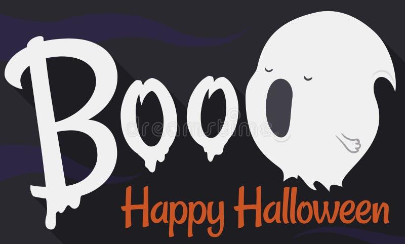 Fantasma que lo grita Boo Scare During Halloween, ejemplo del vector libre illustration