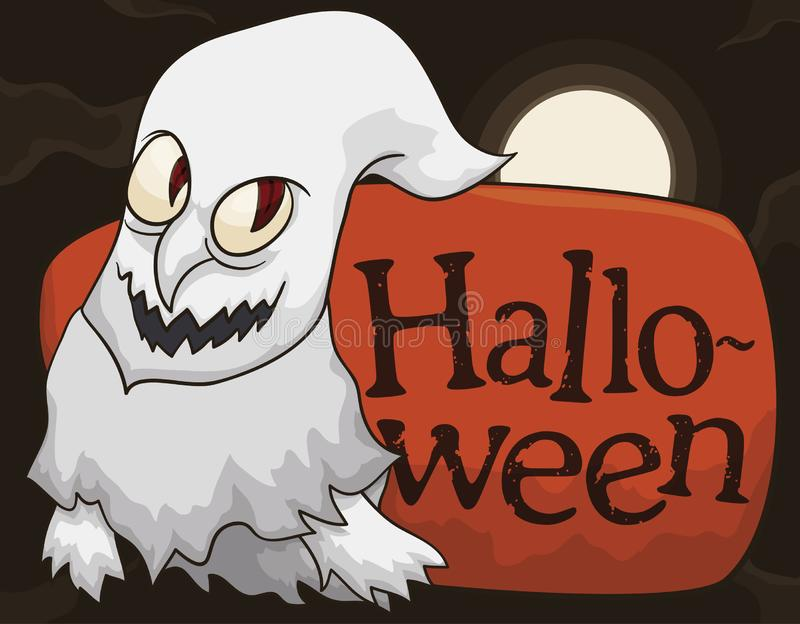 Fantasma que vaga en la noche durante la celebración de Halloween, ejemplo del vector libre illustration