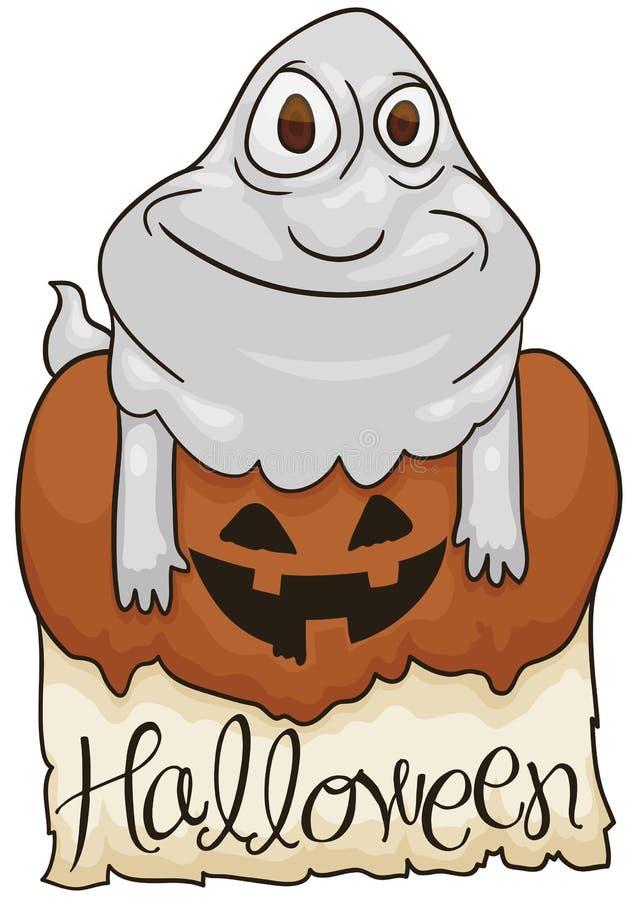 Fantasma sobre la calabaza y muestra para la celebración de Halloween, ejemplo del vector ilustración del vector