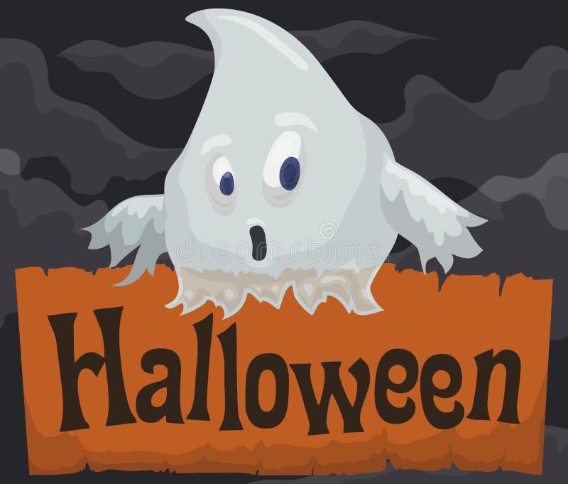 Fantasma sorprendido sobre voluta en Misty Night para Halloween, ejemplo del vector stock de ilustración