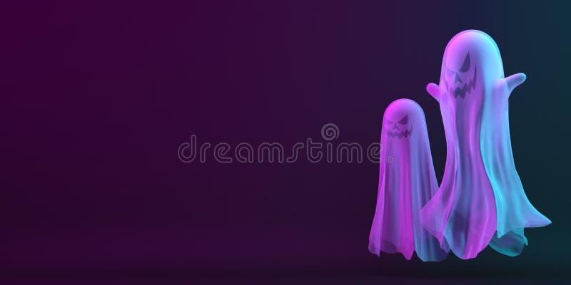 Fantasma su fondo viola blu nero, colore vivo, riflesso di neon area di testo spazio di copia Concetto creativo di Happy Hal illustrazione vettoriale