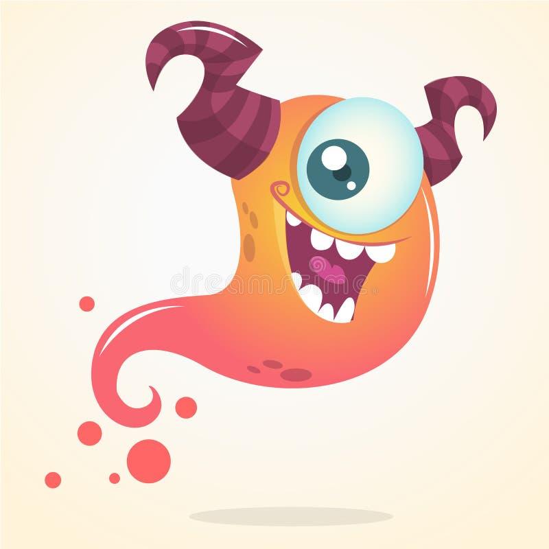 Fantasma sveglio di rosa del fumetto con due corni ed un occhio Carattere di Halloween di vettore illustrazione di stock