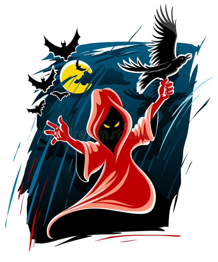 Fantasma tremendo da meia-noite de Halloween ilustração stock