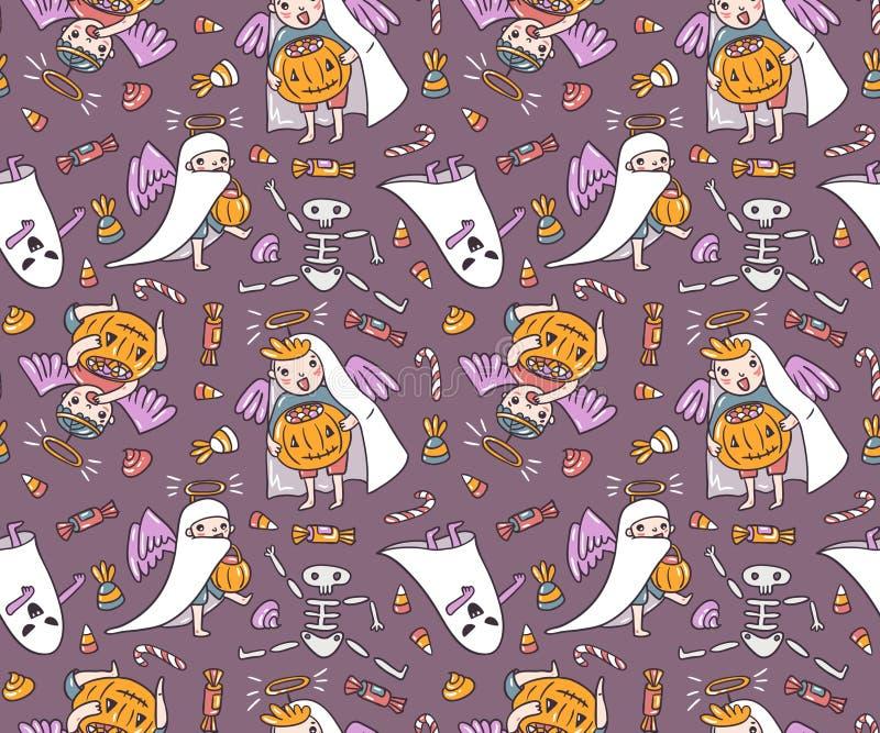 Fantasma y ángeles con la calabaza y los dulces aislados en el fondo violeta Ejemplo del vector del truco o de la invitación ilustración del vector
