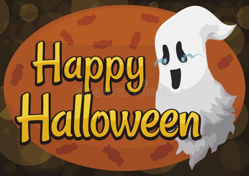 Fantasma y muestra felices con los caramelos para la celebración de Halloween, ejemplo del vector ilustración del vector