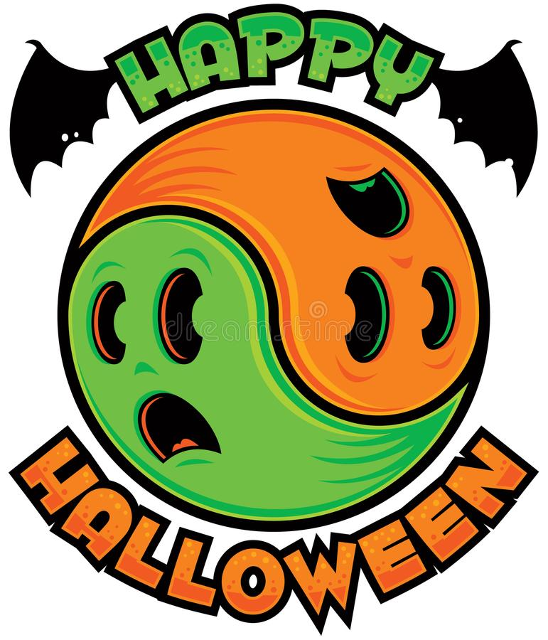 Fantasma Yin-Yang del feliz Halloween fotografía de archivo