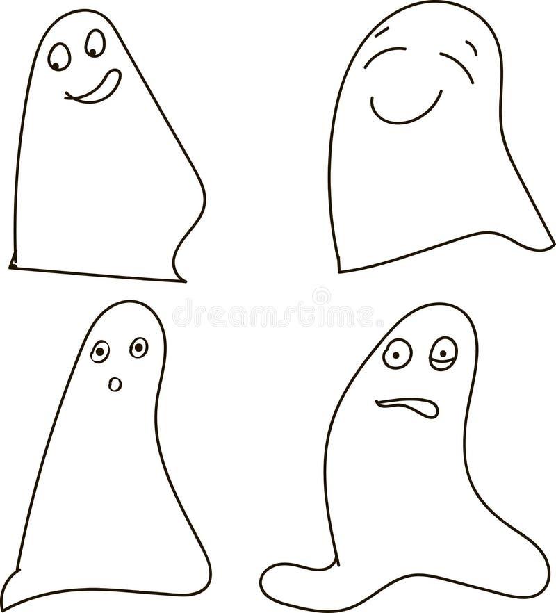 Fantasmas, blanco y negro, dibujando, emociones: alegría, felicidad, sorpresa, choque, Halloween, Halloween ilustración del vector