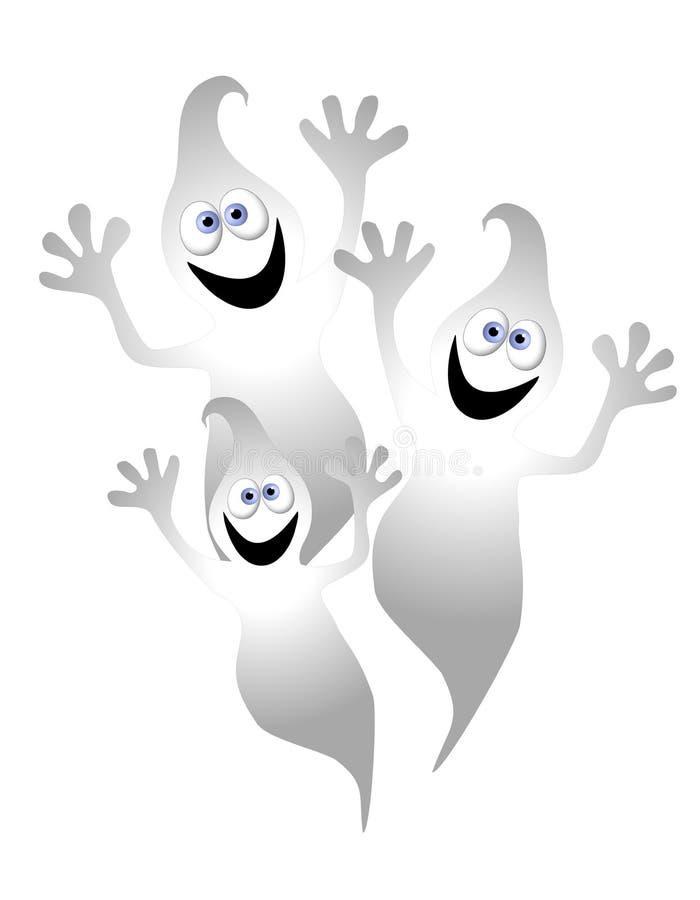 Fantasmas de la historieta de Víspera de Todos los Santos stock de ilustración