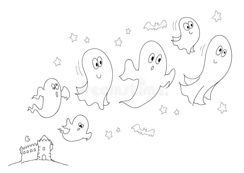 Fantasmas e bw do castelo ilustração stock