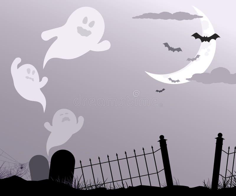 Fantasmi che volano attraverso il cimitero illustrazione vettoriale