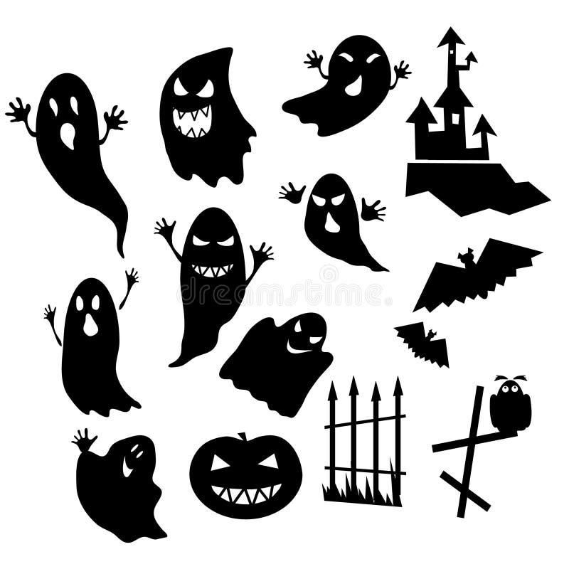 Fantasmi e zucca nella notte di Halloween fotografia stock libera da diritti