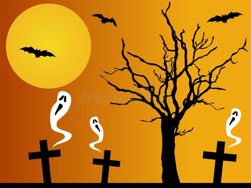 Fantasmi spaventosi in un cimitero royalty illustrazione gratis